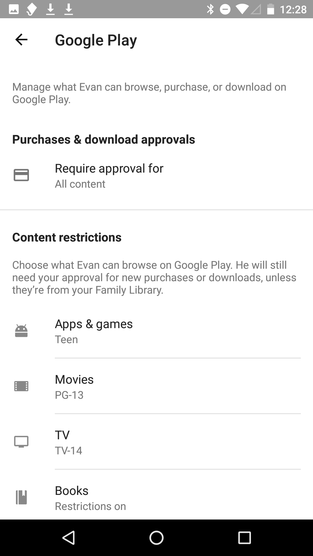 The parental controls for what your kid can do on Google Play.